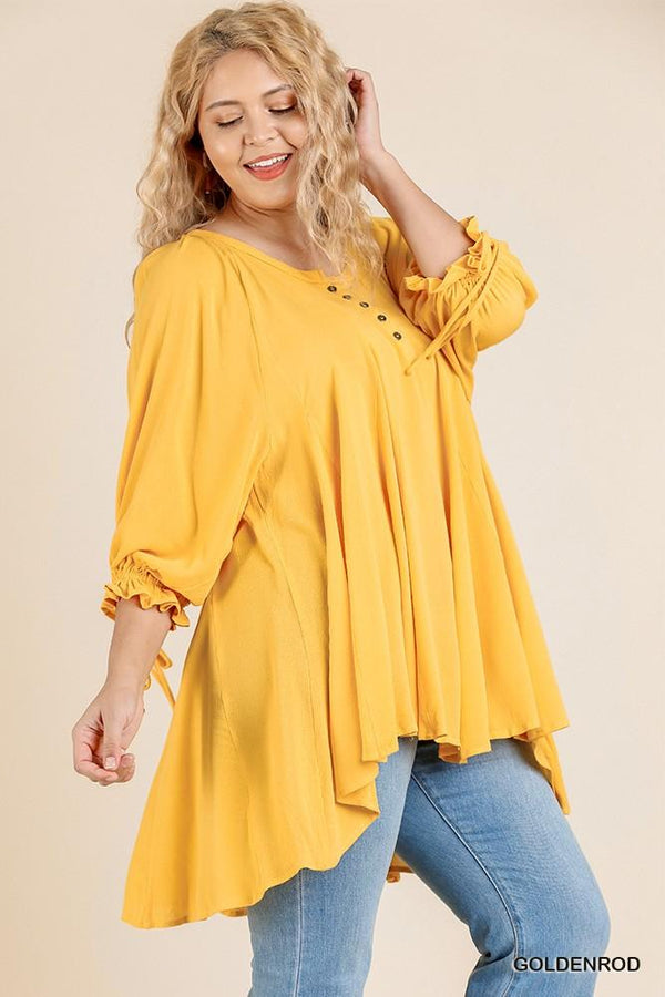 Ruffle Tie Sleeve Button Round Neck Tunic With High Low Hem demochatbot