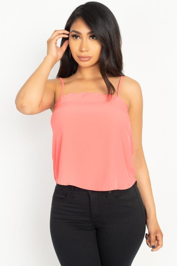 Scallop Opening Cami Top demochatbot Coral S