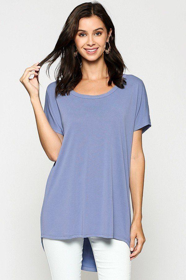 Scoop Neckline Cupro Solid Top demochatbot Denim Blue S