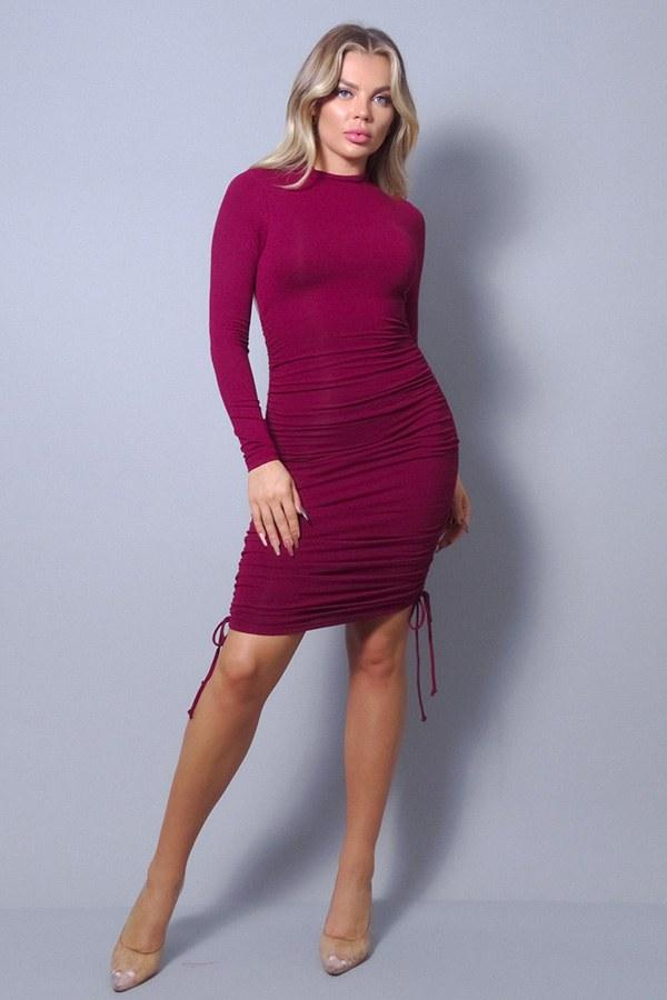 Sexy Long Sleeve Mock Neck Side Or Twist Ruching Dress Pinky Petals