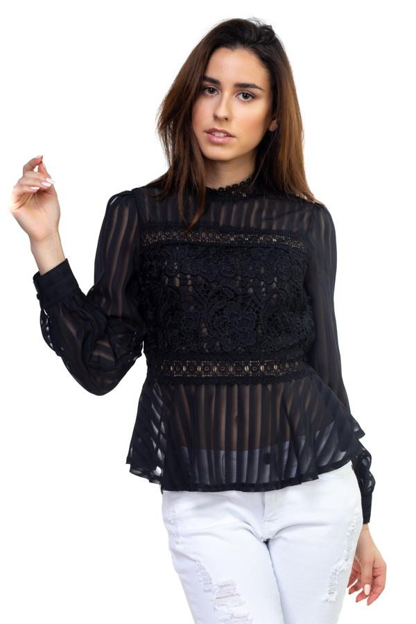 Shadow Stripe Embroidered Shirt demochatbot Black S