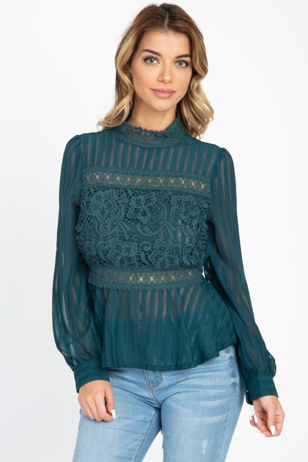 Shadow Stripe Embroidered Shirt demochatbot Emerald S
