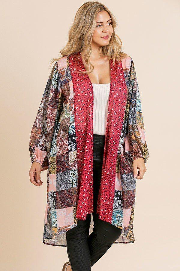 Sheer Animal Scarf Mixed Print Long Puff Sleeve Open Front Long Kimono demochatbot