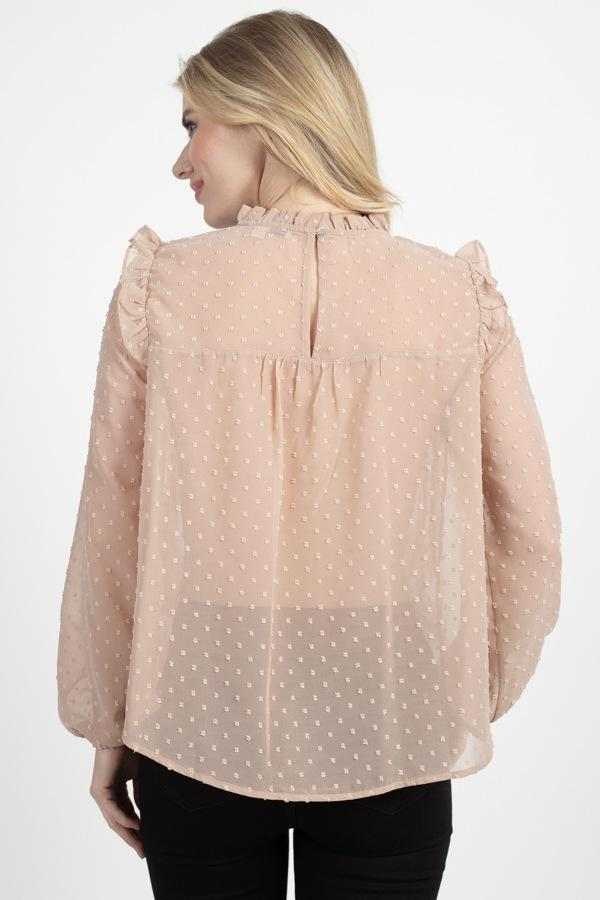 Sheer Swiss Dot Ruffle Top demochatbot