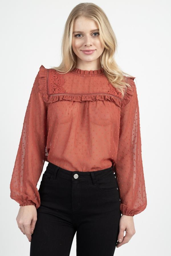 Sheer Swiss Dot Ruffle Top demochatbot Cinnamon S