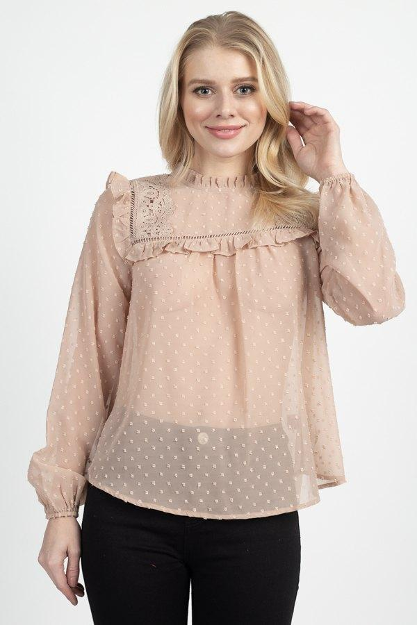Sheer Swiss Dot Ruffle Top demochatbot Oyster S