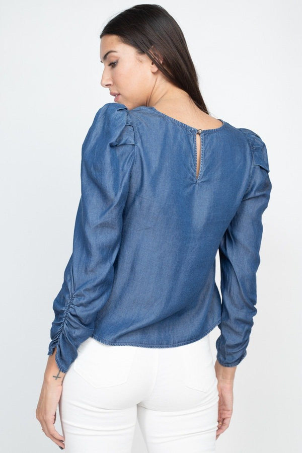 Shirring Puff Sleeves Denim Top Pinky Petals