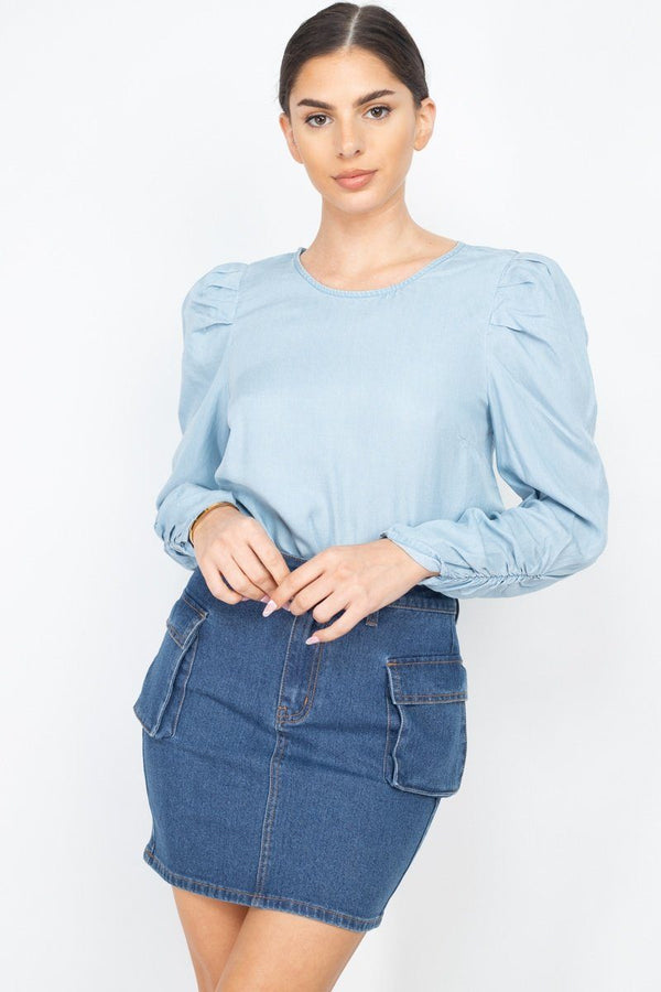 Shirring Puff Sleeves Denim Top Pinky Petals Light Wash S