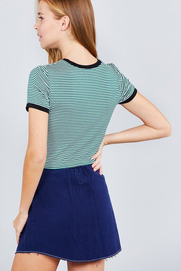 Short Crew Neck W/contrast Binding Front Tie Stripe Rayon Spandex Top demochatbot