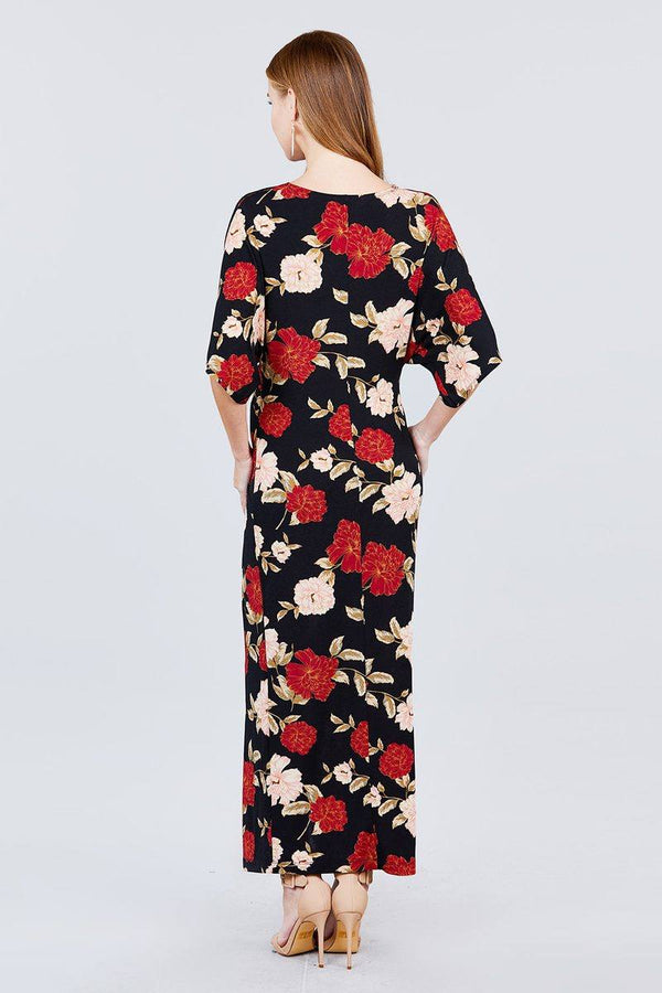 Short Dolman Sleeve V-neck Front Knot And Slit Print Knit Long Dress - Pinky Petals