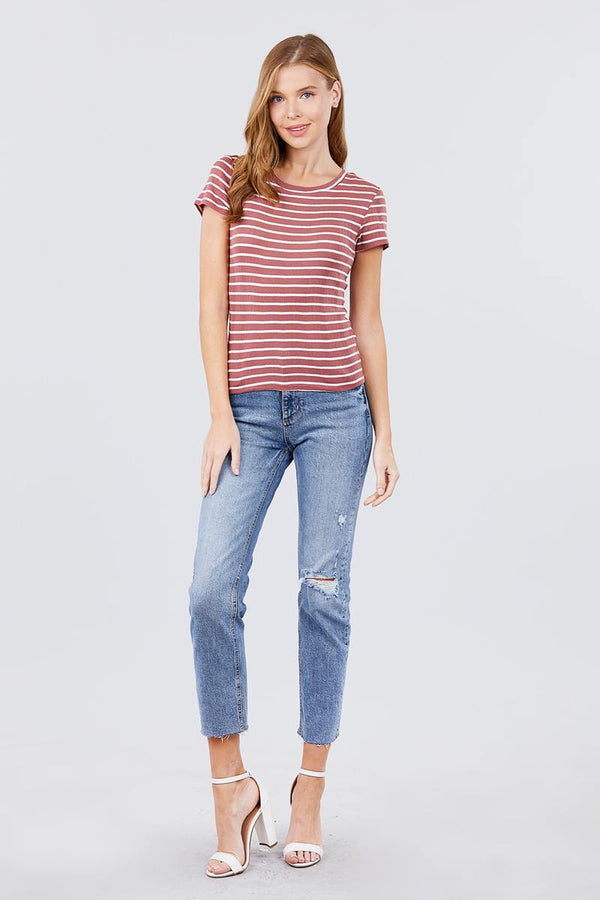 Short Sleeve Crew Neck Stripe Pointelle Knit Top demochatbot