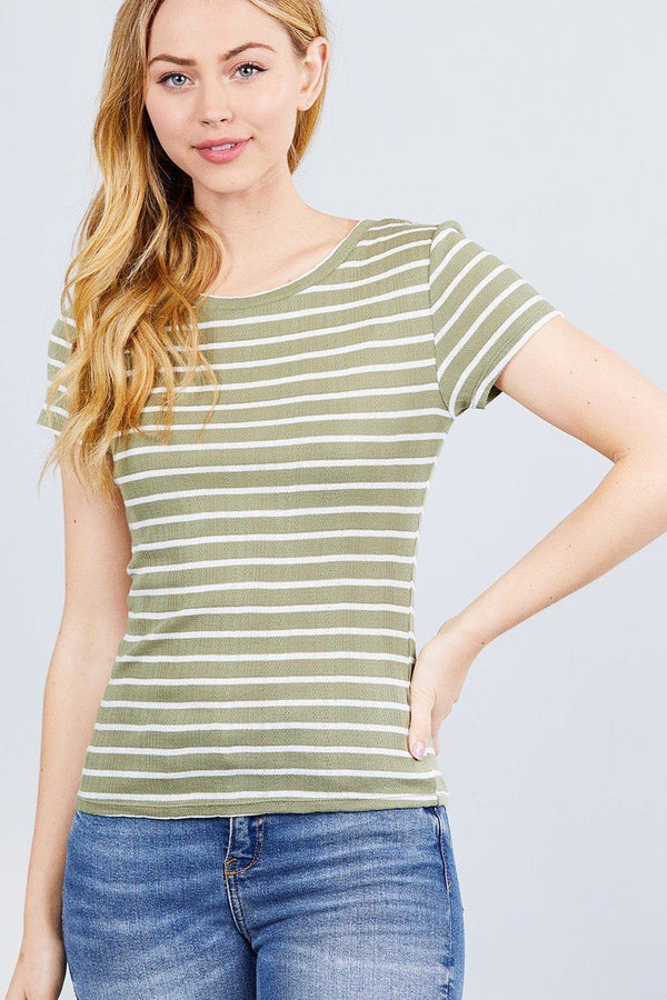 Short Sleeve Crew Neck Stripe Pointelle Knit Top demochatbot Dusty Olive/White S