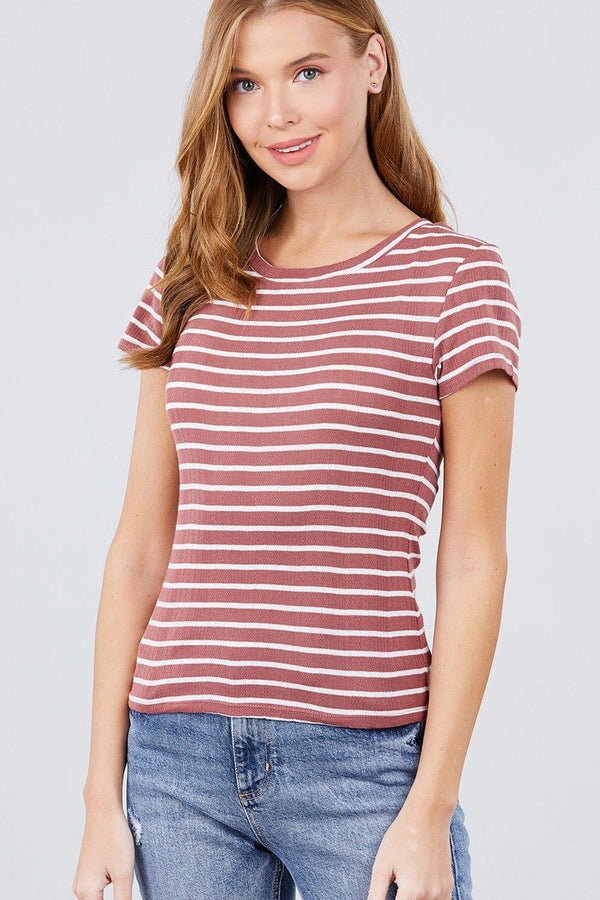 Short Sleeve Crew Neck Stripe Pointelle Knit Top demochatbot Mauve/White S