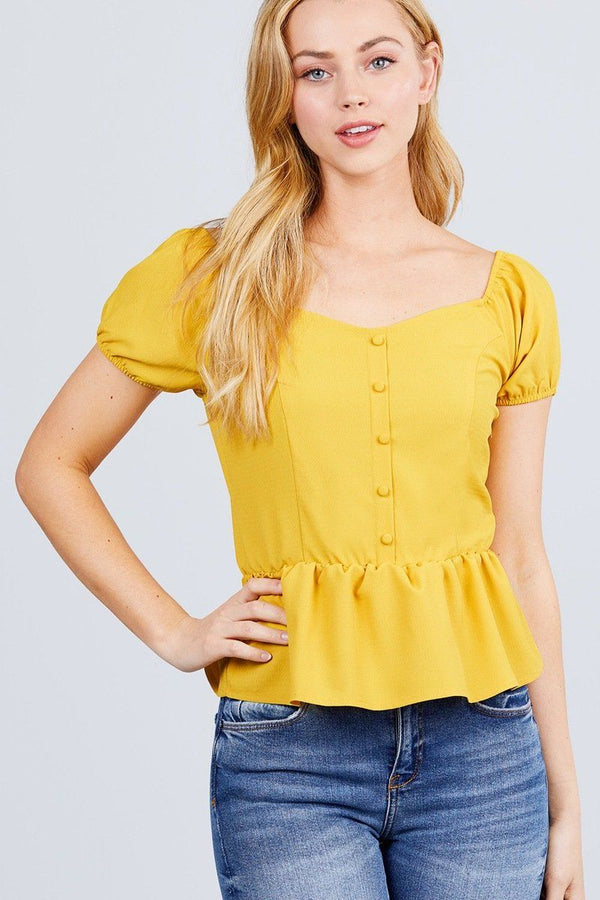 Short Sleeve Heart Neck W/button Back Smocking Detail Flare Hem Woven Top demochatbot Golden Yellow S