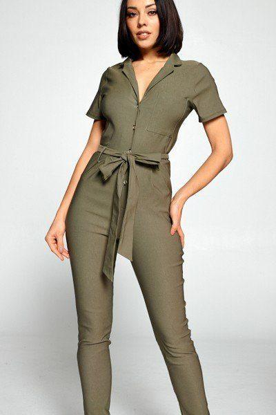 Short Sleeve Jumpsuit With A Notched Collar Neckline ,button Down Front, Pocket Detail Finished Off With A Self Tie Belt demochatbot