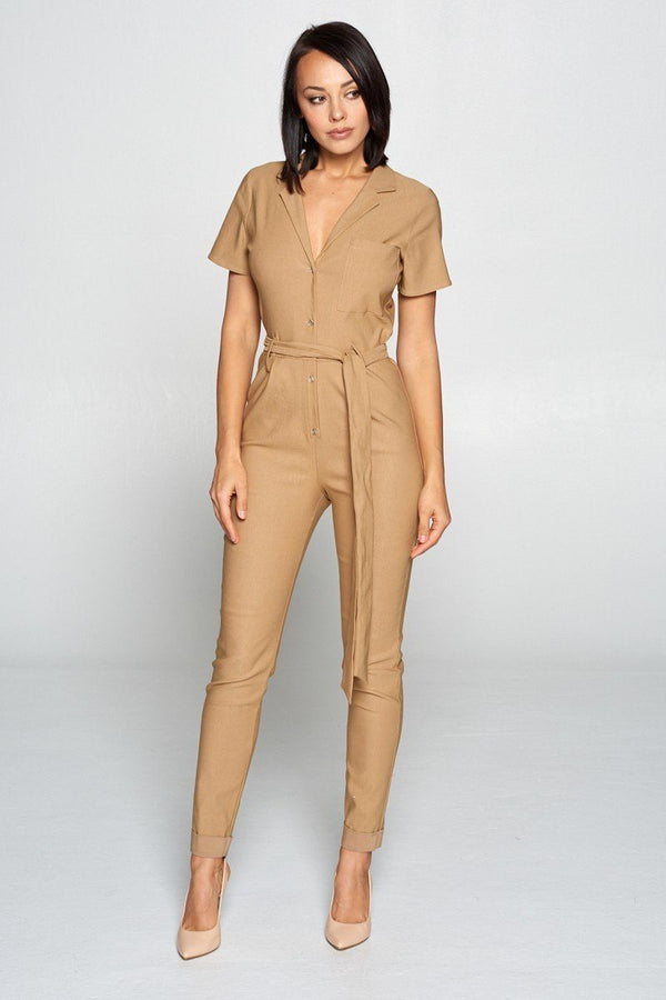 Short Sleeve Jumpsuit With A Notched Collar Neckline ,button Down Front, Pocket Detail Finished Off With A Self Tie Belt demochatbot Camel S