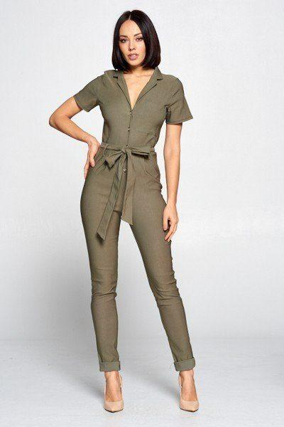 Short Sleeve Jumpsuit With A Notched Collar Neckline ,button Down Front, Pocket Detail Finished Off With A Self Tie Belt demochatbot Olive S