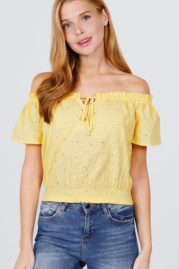 Short Sleeve Off The Shoulder Front Tie Detail Smocked Hem Eyelet Lace Woven Top demochatbot Lemon Yellow S