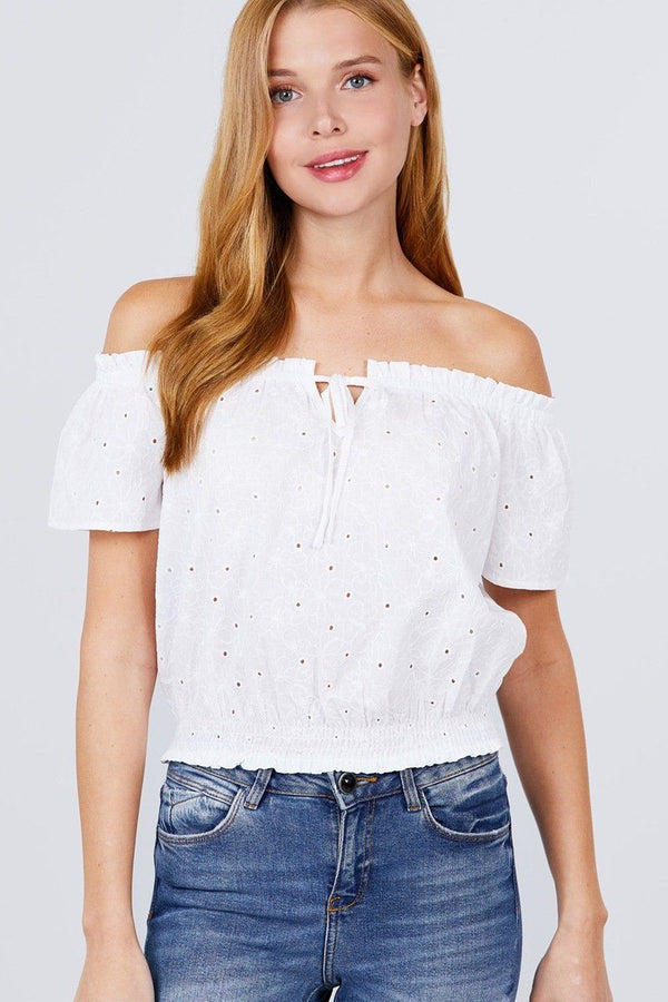 Short Sleeve Off The Shoulder Front Tie Detail Smocked Hem Eyelet Lace Woven Top demochatbot Off White S