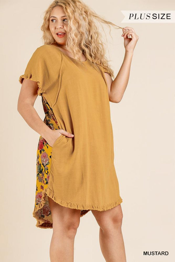 Short Sleeve Round Neck Dress With Floral Print Back And High Low Scoop Ruffle Hem demochatbot Mustard XL