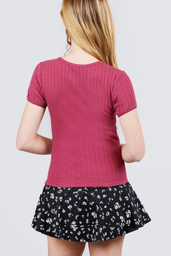 Short Sleeve W/lace Trim Detail Crew Neck Pointelle Knit Top demochatbot