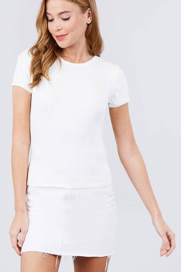 Short Sleeve W/lace Trim Detail Crew Neck Pointelle Knit Top demochatbot Off White S