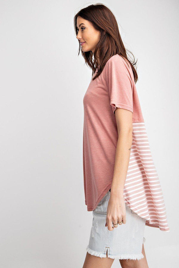 Short Sleeves Rayon Slub Mix And Match Striped Contrast Boxy Top demochatbot