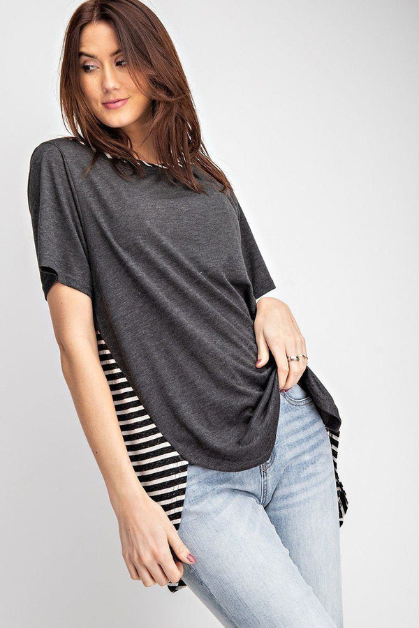 Short Sleeves Rayon Slub Mix And Match Striped Contrast Boxy Top demochatbot Black S