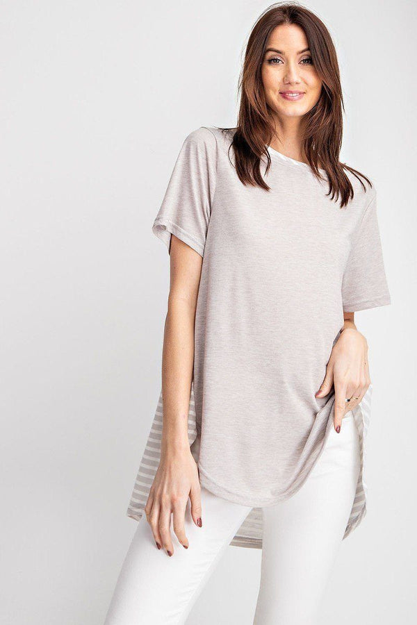 Short Sleeves Rayon Slub Mix And Match Striped Contrast Boxy Top demochatbot Light Grey S