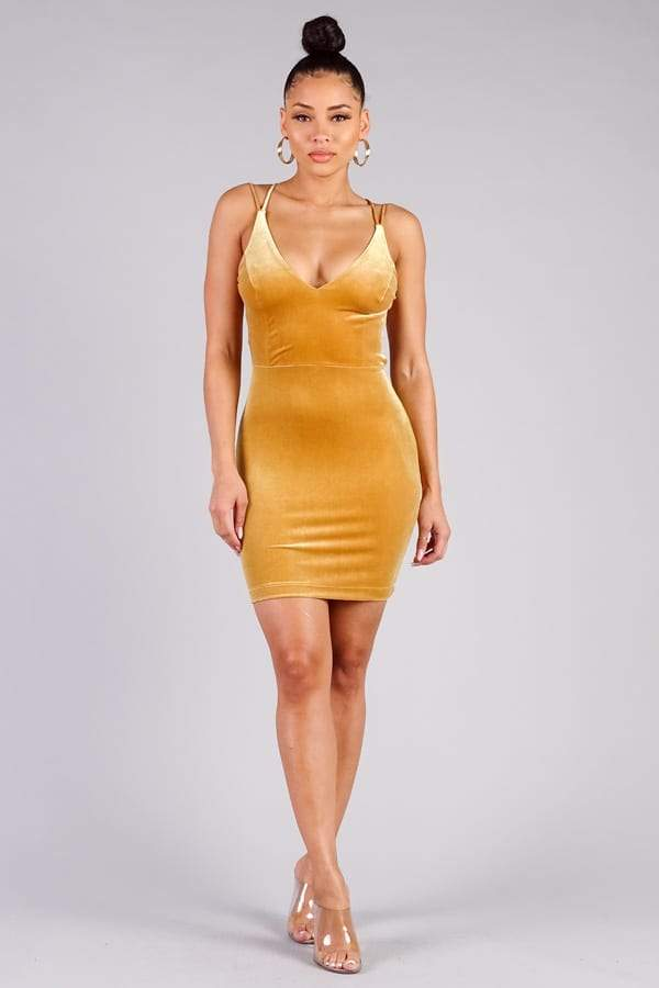 Showstopper, Sexy Crossover Strap Dress Pinky Petals Mustard S