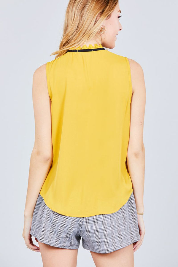 Sleeveless Contrast Tie W/lace Wool Dobby Woven Top demochatbot