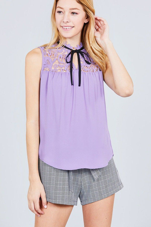 Sleeveless Contrast Tie W/lace Wool Dobby Woven Top demochatbot Lilac/Black S