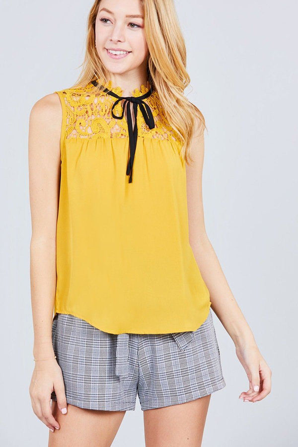 Sleeveless Contrast Tie W/lace Wool Dobby Woven Top demochatbot Mustard/Black S