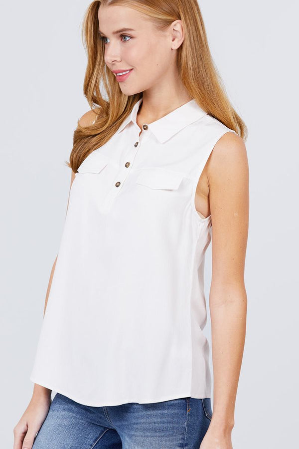 Sleeveless Front Flap Pocket Button Down Woven Shirts demochatbot