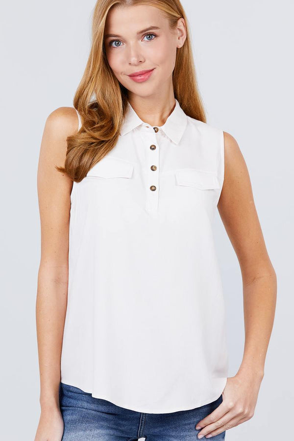 Sleeveless Front Flap Pocket Button Down Woven Shirts demochatbot Ivory S