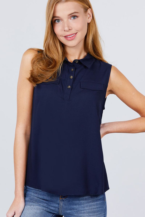 Sleeveless Front Flap Pocket Button Down Woven Shirts demochatbot Navy S