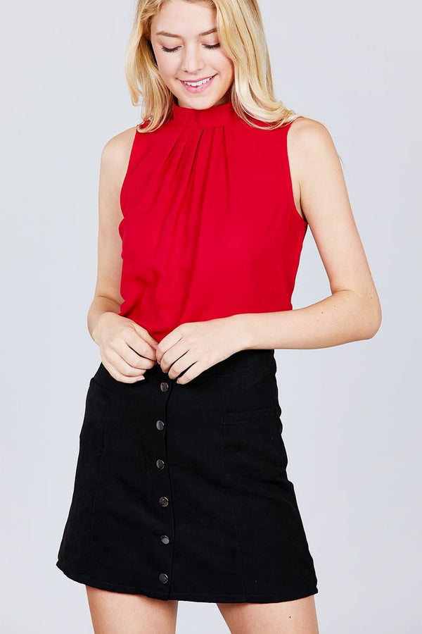 Sleeveless Mock Neck Back Button Woven Top demochatbot Red S