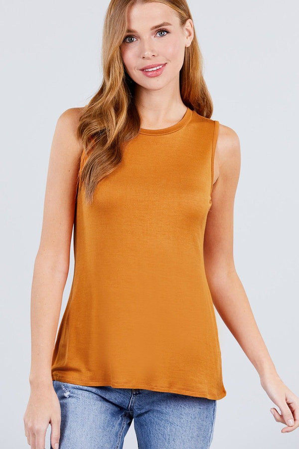 Sleeveless Round Neck Rayon Spandex Knit Top demochatbot Carrot S