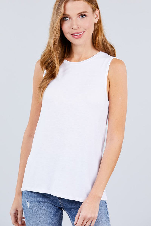 Sleeveless Round Neck Rayon Spandex Knit Top demochatbot Off White S
