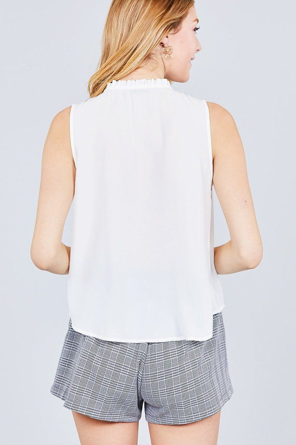Sleeveless Ruffle Neck W/self Tie Smocked Yoke Detail Front Button Woven Top demochatbot