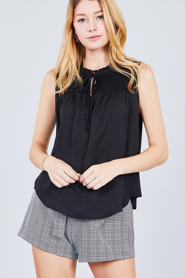 Sleeveless Ruffle Neck W/self Tie Smocked Yoke Detail Front Button Woven Top demochatbot Black S