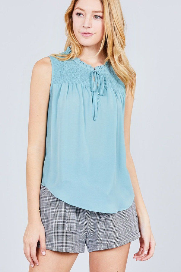 Sleeveless Ruffle Neck W/self Tie Smocked Yoke Detail Front Button Woven Top demochatbot Fizzy Mint S