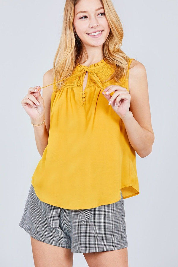 Sleeveless Ruffle Neck W/self Tie Smocked Yoke Detail Front Button Woven Top demochatbot Mustard S