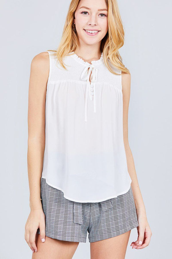Sleeveless Ruffle Neck W/self Tie Smocked Yoke Detail Front Button Woven Top demochatbot Off White S