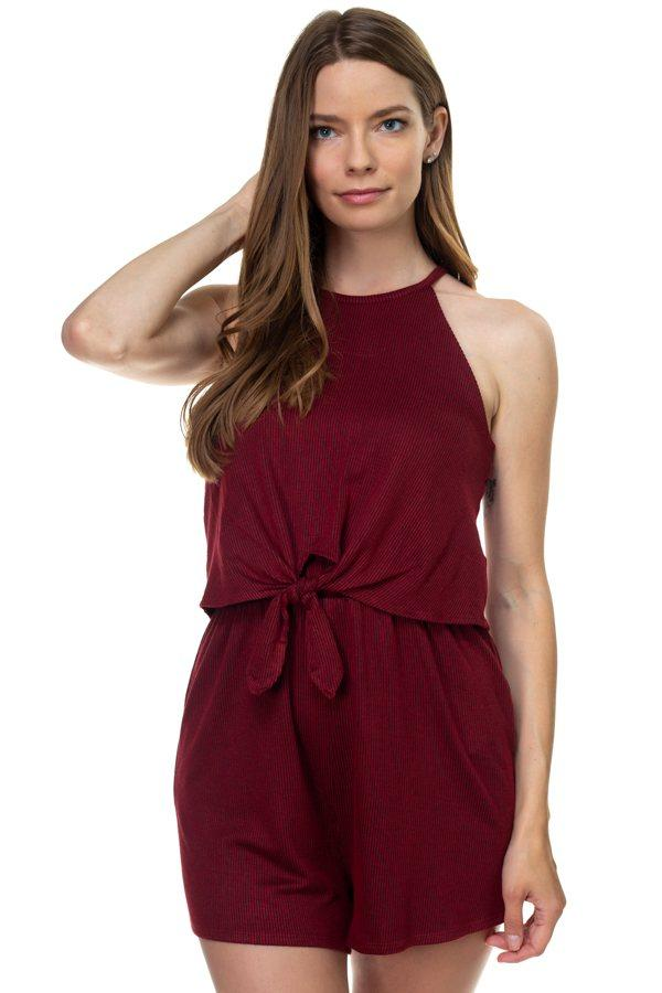 Sleeveless Stripe Romper demochatbot Wine/Black S