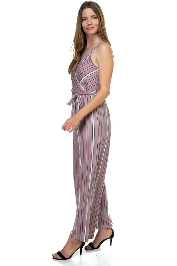 Sleeveless Stripe Waist Tie Jumpsuit demochatbot