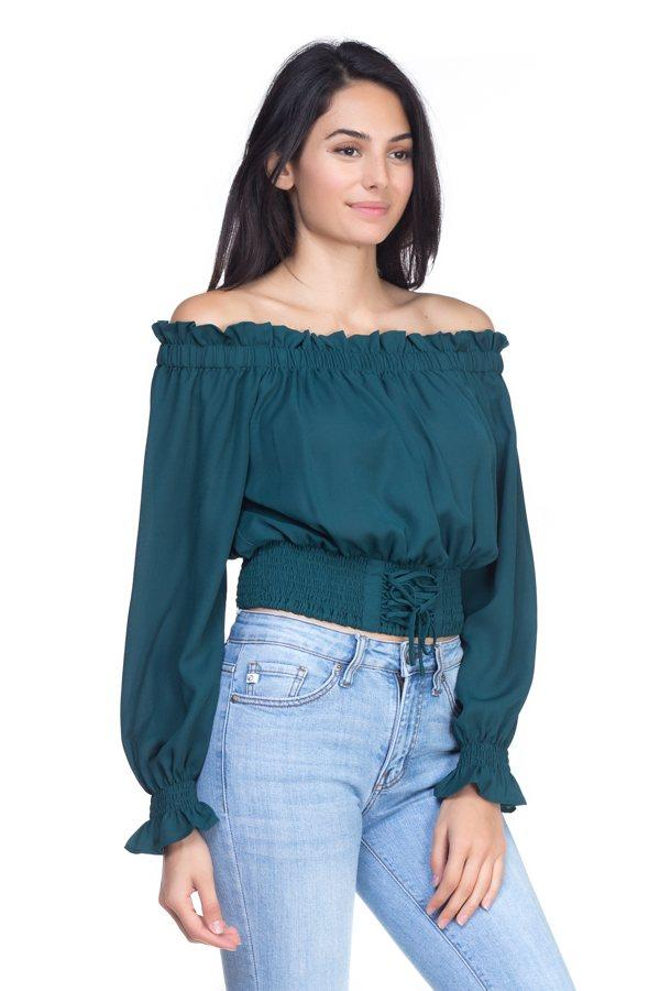 Smock Bottom Ruffle Off Shoulder Shirt demochatbot