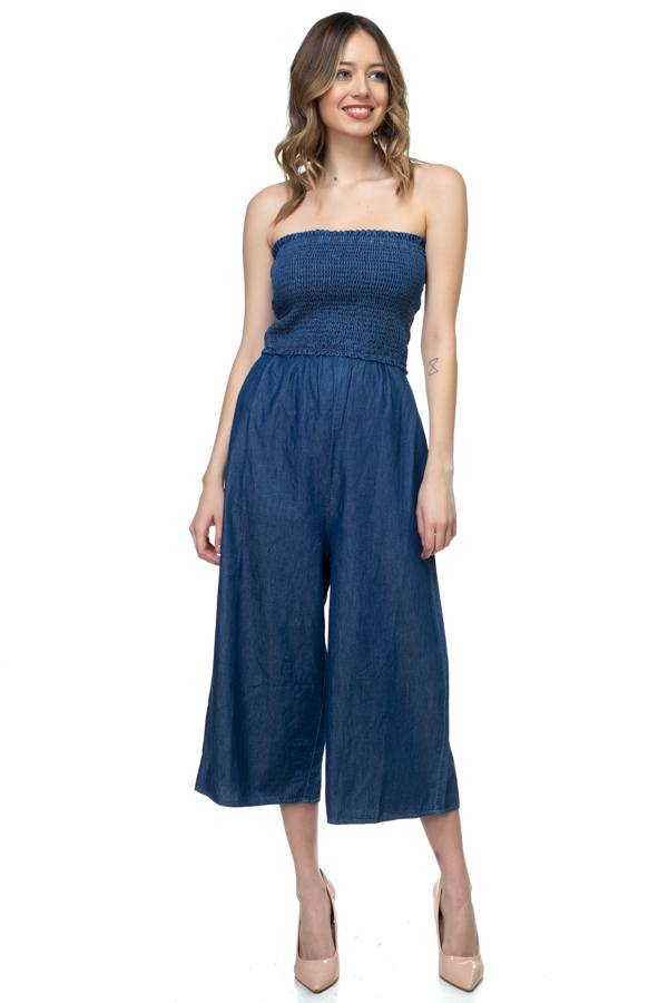 Smocked Tube Top Jumpsuit demochatbot Dark Wash S