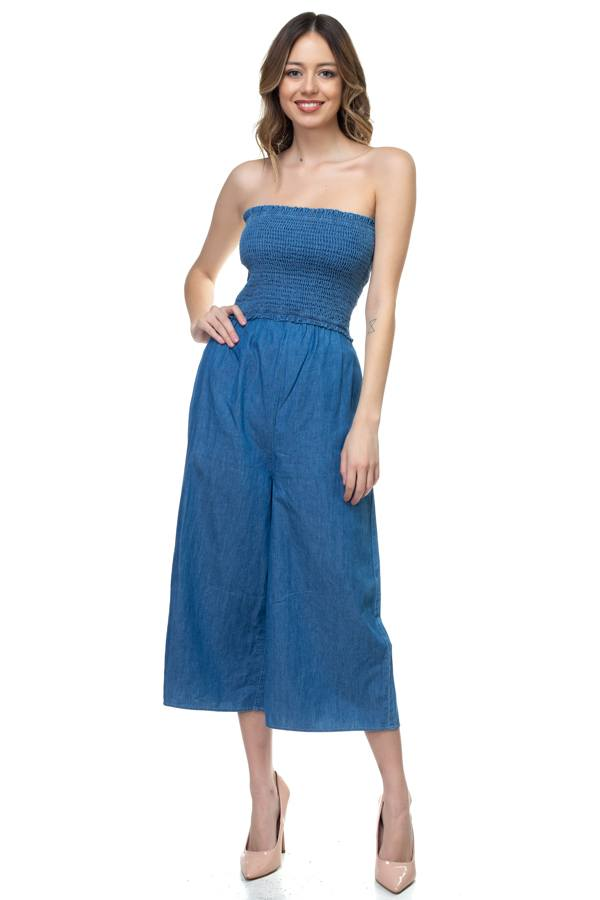 Smocked Tube Top Jumpsuit demochatbot Medium Wash S