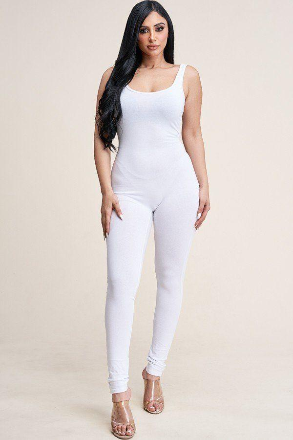 Solid Cotton Basic Jumpsuit With U Back Line demochatbot